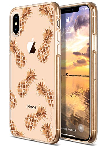 Coolwee for iPhone Xs Max Case Rose Gold Pineapple Floral Case for Women Girl Men Foil Clear Design Shiny Glitter Hard Back Case with Soft TPU Bumper Cover for Apple iPhone Xs Max 6.5 inch Pineapple