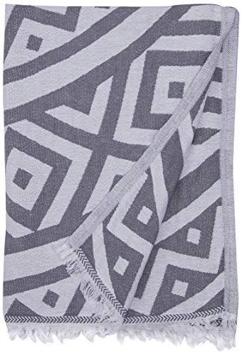 Bersuse 100% Algodon - Venice Toalla Turca - Fouta Toalla de Playa y Toalla de Baño - Doble Capa - Diseño Mandala - 100 x 180 cm, Gris Plateado