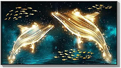 Moderne wanddecoratie, Wall Art, Large Painting Decor Night Starfish Fish Canvas Fotos voor Woondecoratie Woonkamer Kunstwerk (Kleur: A, Grootte: 50x90cm) (Color : B, Size : 110x60cm)