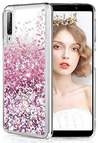 wlooo Hülle für Samsung Galaxy A7 2018, Samsung A7 2018 Hülle, Glitzer Flüssig Treibsand Handyhülle Glitter Quicksand Silikon Weich TPU Bumper Schutzhülle Case für A7 2018 / A750 (Roségold)