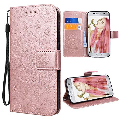 VemMore Kompatibel für Samsung Galaxy S7 Hülle Handyhülle Schutzhülle Leder PU Wallet Flip Case Bumper Lederhülle Ledercase Blumen Muster Klapphülle Ultra Slim Dünn Kartenfach Magnetisch - Rose Gold