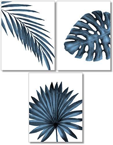 Tropical Leaves Art Prints - Botanical Prints Wall Art Decor - Watercolor Monstera Date Palm Leaf - Set of 3-8x10 - Unframed - Blue