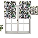 Hiiiman Cenefa de cortina para interiores y hogares, diseño de dibujos animados con muérdago, juego de 1, 137 x 45 cm para baño y cafetería.