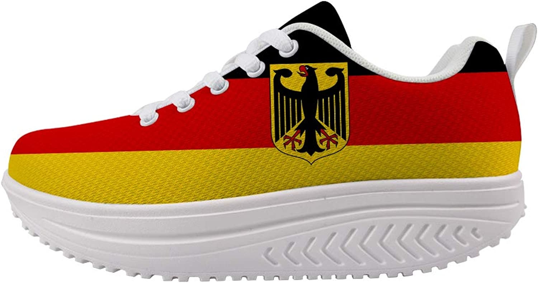 Owaheson Swing Platform Toning Fitness Casual Walking shoes Wedge Sneaker Women German Flag Deutsche National Emblem
