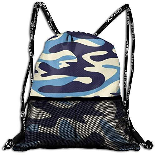 Lmtt Sac à Cordon pour Homme/Femme - Bleu Camouflage Mode Sac à Dos léger Sac à Dos décontracté pour Le Sport, Les Voyages, la Gym, la Formation, Le Yoga