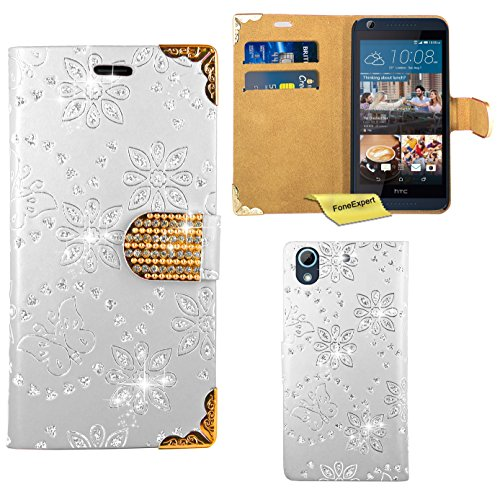 HTC Desire 626 626G Handy Tasche, FoneExpert® Bling Luxus Diamant Hülle Wallet Case Cover Hüllen Etui Ledertasche Premium Lederhülle Schutzhülle für HTC Desire 626 626G (Weiß)