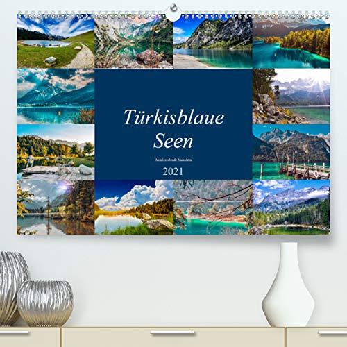 Türkisblaue Seen (Premium, hochwertiger DIN A2 Wandkalender 2021, Kunstdruck in Hochglanz)