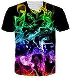 NEWISTAR Teen Boys Girls Print Color Smoking Short Sleeve Shirt Cool Graphic Tees Large