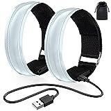 lanpard 2pcs Brazalete LED Recargable con Banda Reflectante Running, Luz para Correr Andar Ciclismo (Cable USB y Bolsa incluidos) - Elástico Blanco