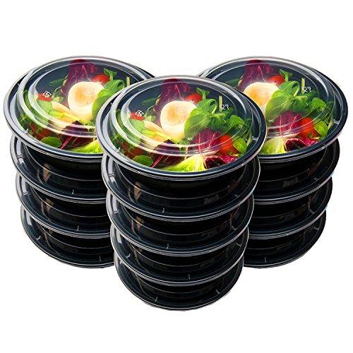 Caxmtu Lot de 10 récipients alimentaires réutilisables avec couvercles ronds en plastique pour conserver les aliments au micro-ondes