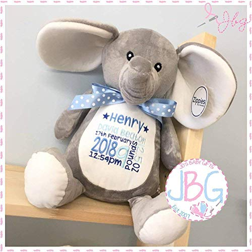 Personalised Grey elephant, Embroidered Stitched in quality teddy bear, new...