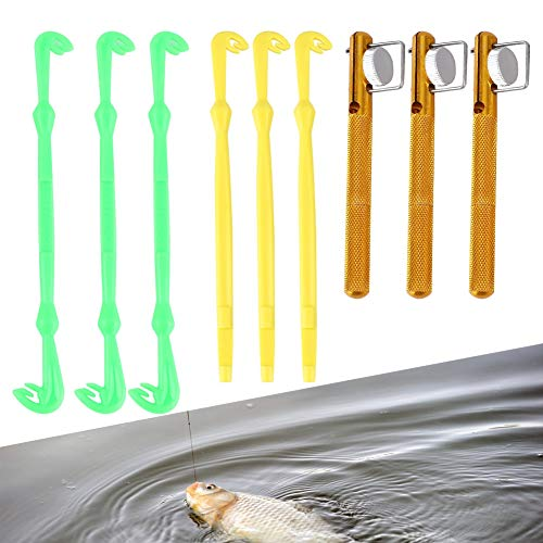 Tihebeyan Fischerei Knoten Binden Werkzeug & Haken Entferner Set, 3 STÜCKE Multicolor Angelhaken Disgorger Dehooker & Loop Binden Werkzeug Fliegenfischen Haken