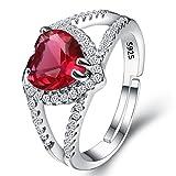Clearine Damen Ring 925 Sterling Silber Hochzeit Braut CZ Halo Herz von der See Veränderbar Cocktail Ring Rubin Rot