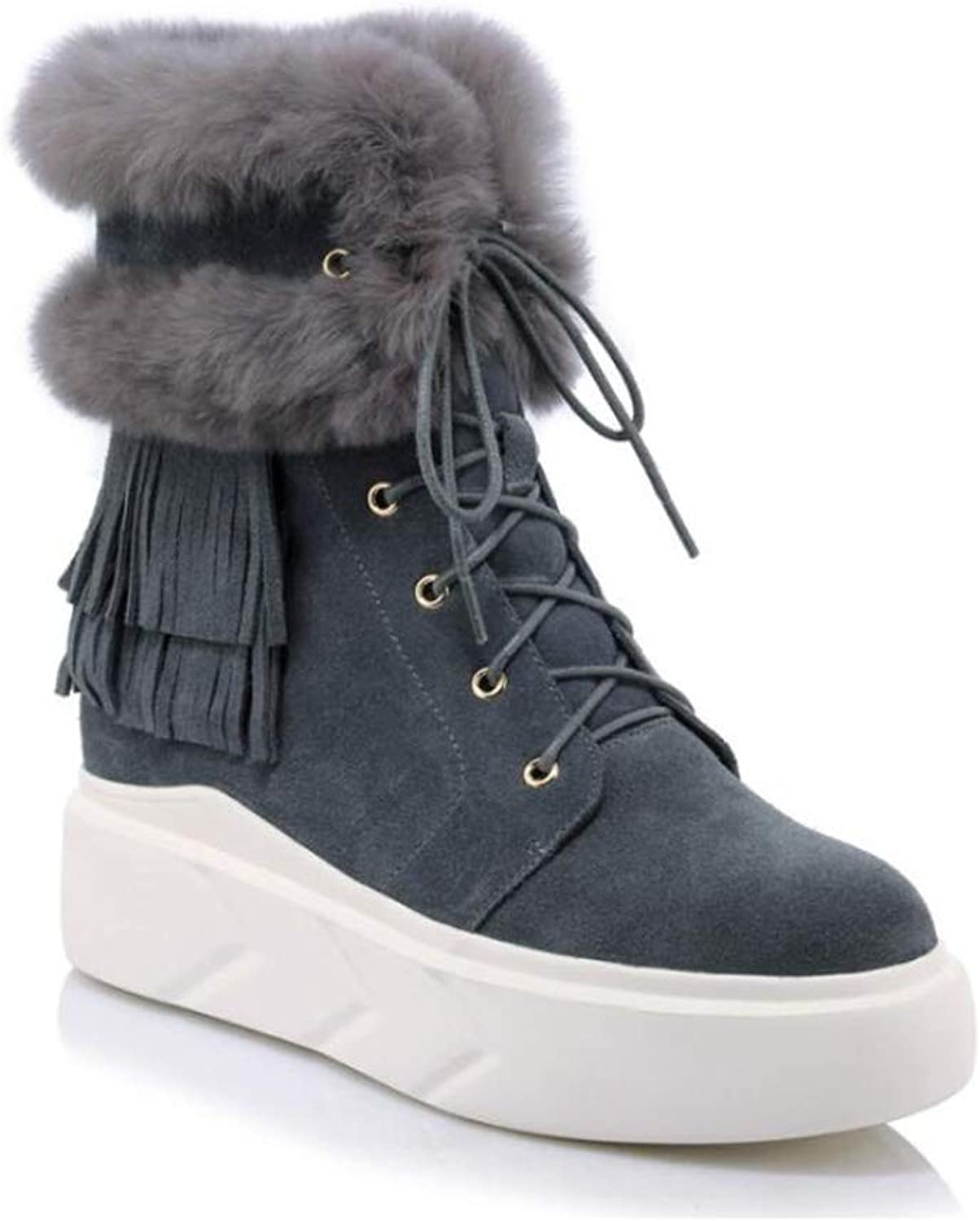 Women's Cotton Boots Rabbit Fur Snow Boots Women's Short Boots Korean Version Plus Velvet Cotton shoes Sponge Cake Flat Leather Women's Boots