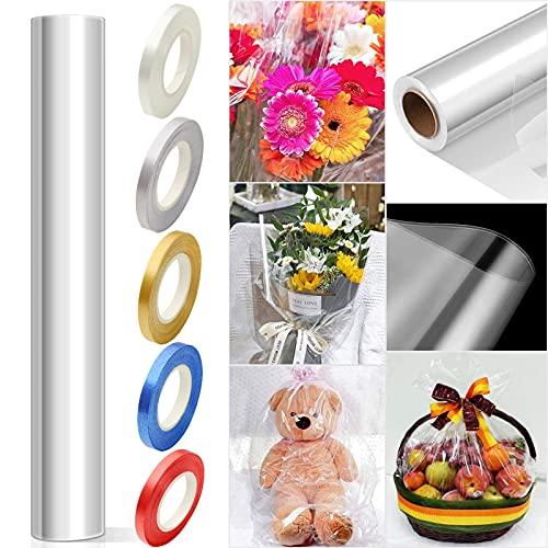 Rouleau de Cellophane Transparent, VEGCOO Papier Cadeau Transparent, Fleuriste Papier Transparent pour Papier D'emballage de Panier de Fleurs 30m*54cm