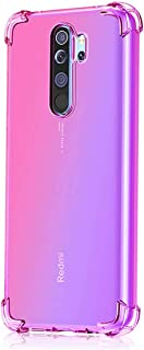 Leychan for Xiaomi Redmi Note 8 Pro Case, Shockproof TPU Bumper Case Double-Color Soft Rubber Anti-Drop Protective Case Cover Fit for Xiaomi Redmi Note 8 Pro Phone (Pink Purple)