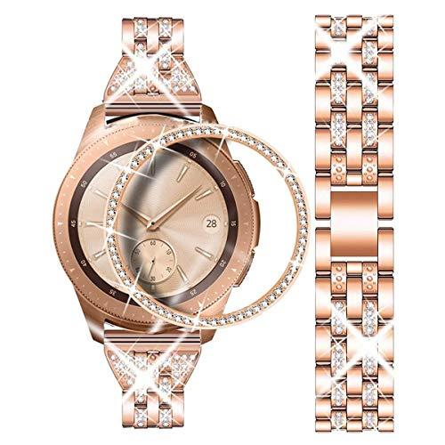 DEALELE Armband Kompatibel mit Samsung Gear Sport/Galaxy Watch 42mm, 20mm Luxus Diamant Edelstahl Metall Uhrenarmband mit Diamant Lünette Ring Schutzhülle, Roségold