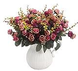 Amkun Kunstblumenstrauß mit künstlichen Rosen, 7Stiele, 21Blüten, Seidenblumen, toll als Deko für Zuhause, Hochzeiten, Partys, 2Stück Rose Coffee