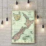WANGHH Vintage Neuseeland Karte Poster Retro Bar Cafe