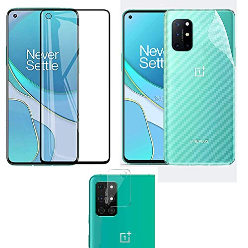 LINLO [3 in 1] for OnePlus 8T OG Super Gorilla Tempered Glass [with Camera Hole] with Clear Transparent Fiber Back Skin Rear Screen Guard with Camera Lens Protector Tempered Glass