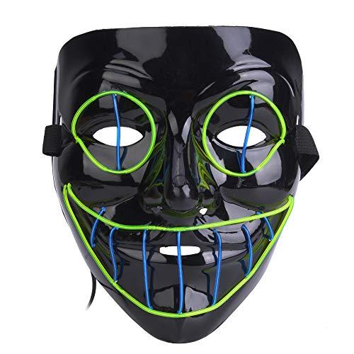 Tbest Oogmasker, gezichtsmasker, multifunctioneel, led-clowns, voor Kerstmis, Cosplay, vakantie, Halloween