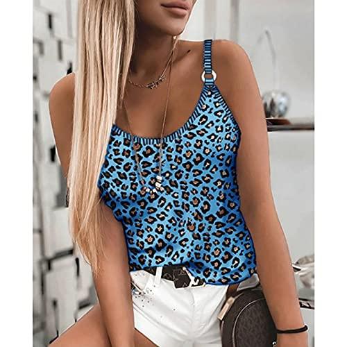 LWCOTTAGE Débardeurs D'Été pour Femmes - Summer Women Leopard Camouflage Print Tops Sexy Elastic Sling Vest Women Sleeveless T-Shirt Girl Party Club Halter Vest,Blue,3XL