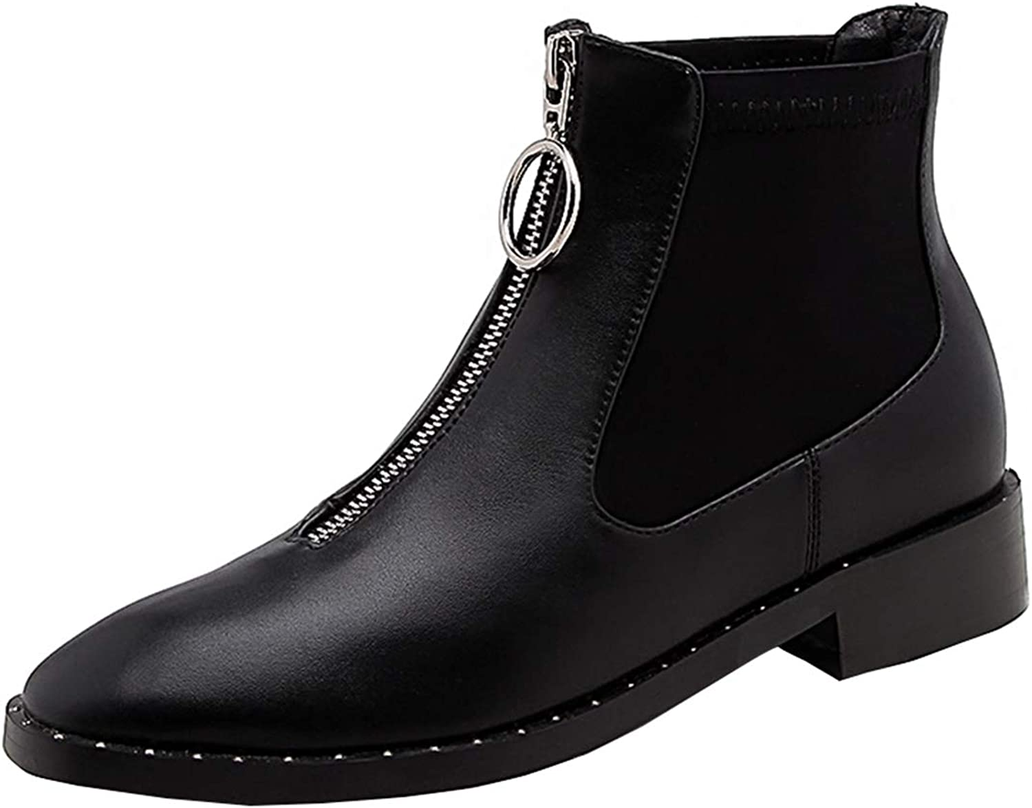 Vitalo Womens Flat Front Zip Ankle Boots Low Heel Square Toe Booties