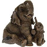 Figurine d'éléphant assis avec éléphanteau - Out of Africa - Décoration contemporaine - Boîte incluse