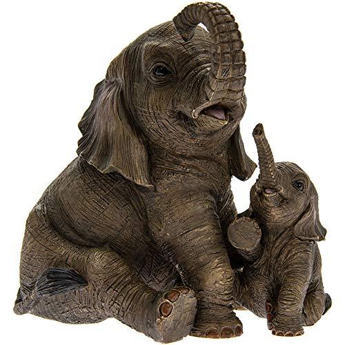 The Leonardo Collection Sitzender Elefant mit Kalb Leonardo 'Out of Africa' Moderne Ornament 12 cm * Box *
