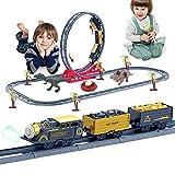 SZCLIMAX Train Set, Classic Boys Girls Toy Train Set for Kids Age 3+, 33 Piece Electric Train Toy Include Locomotive Engine, 2 Dinosaur Toys, 2 Cargo Cars & 28 Tracks - Christmas, Birthday Gift