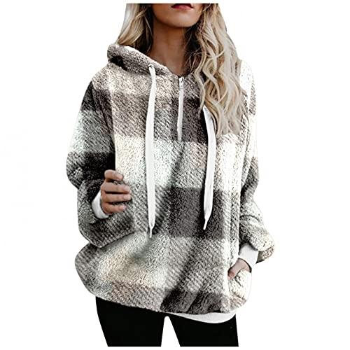 Hoodies for Women, Womens Fleece Hooded Sweatshirts Zipper Pockets Print Fuzzy Hoodie Pullover Sweaters Fluffy Coats