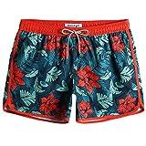 MaaMgic Bañador Hombre de Natación Secado Rápido Interior de Malla Pantalones Cortos d'Aire Vintage 80s 90s,Flores Rojo y Verde,XS