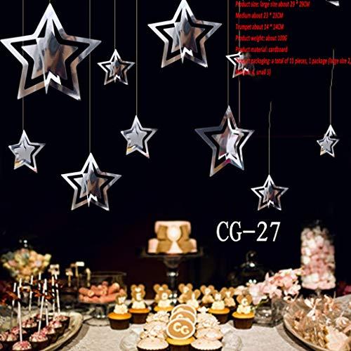 Pentagram Sieraden Karton Papier Opknoping Kerstboom met Touw Hangende Punt Decoratie voor Plafond Thuis Decoratie Shop Restaurant Activiteiten (3 Kleuren)