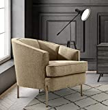 Iconic Home Astoria Club Chair Barrel T-Shaped Seat Cushion Design Linen-Textured Upholstery Vertical Channel-Quilted Tight Back Espresso Solid Metal Legs Modern Transitional, TAUPE