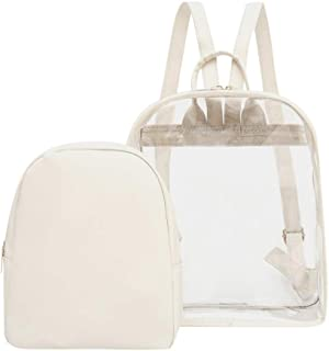 Wultia - Transparent PVC Backpack Women Bookbag Candy Clear Jelly Women Travel Purse Crystal Beach Bag Portable Women Jelly Bags #G8 White