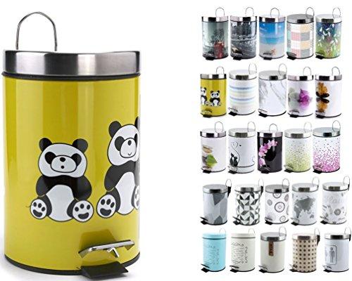 MSV 100525 Panda Poubelle à Pédale 3 L Plastique Vert/Noir/Blanc/Argent 30 x 20 x 15 cm