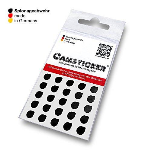 SPIONAGEABWEHR - 25 STK. CAMSTICKER® Ø6mm - Schwarz matt - Kamera Aufkleber für integrierte Miniwebcams