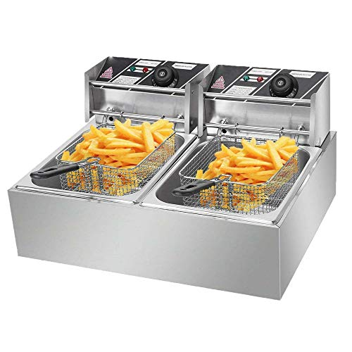 RICA-J Professional Electric Deep Fryer, Stainless Steel Commercial Frying Machine Chicken Chips French Fryer with Basket &Lid for Commercial Restaurant Countertop Family Food Cooking (6L)