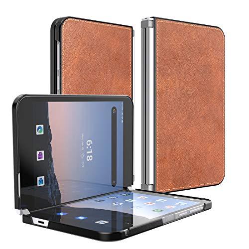 Feitenn Leder-Schutzhülle für Microsoft Surface Duo 2020, leicht, dünn, PU-Leder, strapazierfähig, stoßfest, für Microsoft Surface Duo 20,6 cm (8,1 Zoll) 2020 – Braun