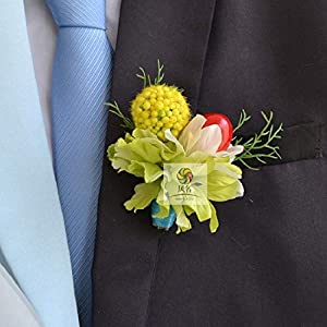Artificial and Dried Flower Abiu Fruit Party Prom Wedding Flowers Wedding Boutonniere Branches Mix Colors Corsage Pin Groom Anemone Groomsman
