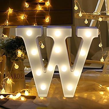 Ecosin Light Up Wooden Alphabet LED Letter Lights Alphabet Light Up Sign for Wedding Home Party Bar Decoration (W)