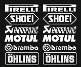 Juego de adhesivos 12 pegatinas blancas logotipo de Pirelli Akrapovic, 16 cm, para coche, moto, decoracion