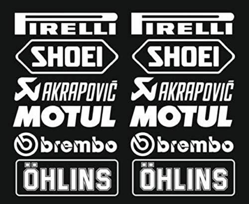 mundo Aufkleberset (12 weiße Pirelli Akrapovic Logo Aufkleber, 16 cm, Aufkleber für Auto, Motorrad, LKW.
