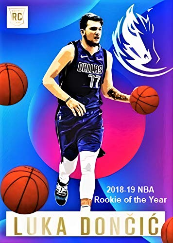 Brand New LUKA DONCIC Custom Art Basketball Rookie Card Depicting his 2018-19 Rookie of the Year Season