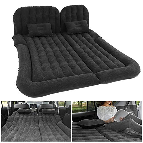 Wakects Colchón inflable de coche multifuncional plegable, colchón para coche hinchable con bomba, colchón de viaje, para descanso, dormir, viaje de camping (negro)