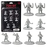 8 Unpainted Fantasy Goblin Mini Figures- All Unique Designs- 1' Hex-Sized Compatible with DND Dungeons and Dragons & Pathfinder and All RPG Tabletop Games