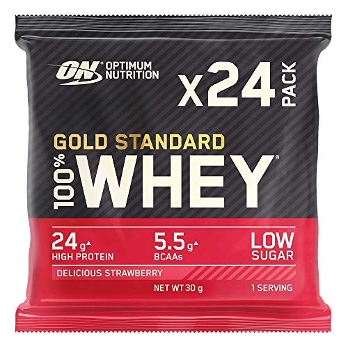 Optimum Nutrition Gold Standard Whey Protein Powder Muscle Building Supplements with Naturally-Occurring Glutamine and Amino Acids, Delicious Strawberry, Pack of 24, 24 x 30 g, Packaging May Vary