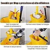 600 x 280 x 670 mm Giallo Carrello per Pulizia Scorrevole con Strizzatore COSTWAY Secchio per Mocio Portatile