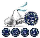 Darling Souvenir Hershey Kisses guirnalda de la hoja pegatinas del boda del chocolate etiquetas azules DIY 190 piezas de la Marina