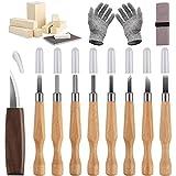 Juego de cuchillos para tallar madera, herramienta para tallar madera, 20 piezas, kit para tallar madera con madera, kit para tallar madera (20 piezas)